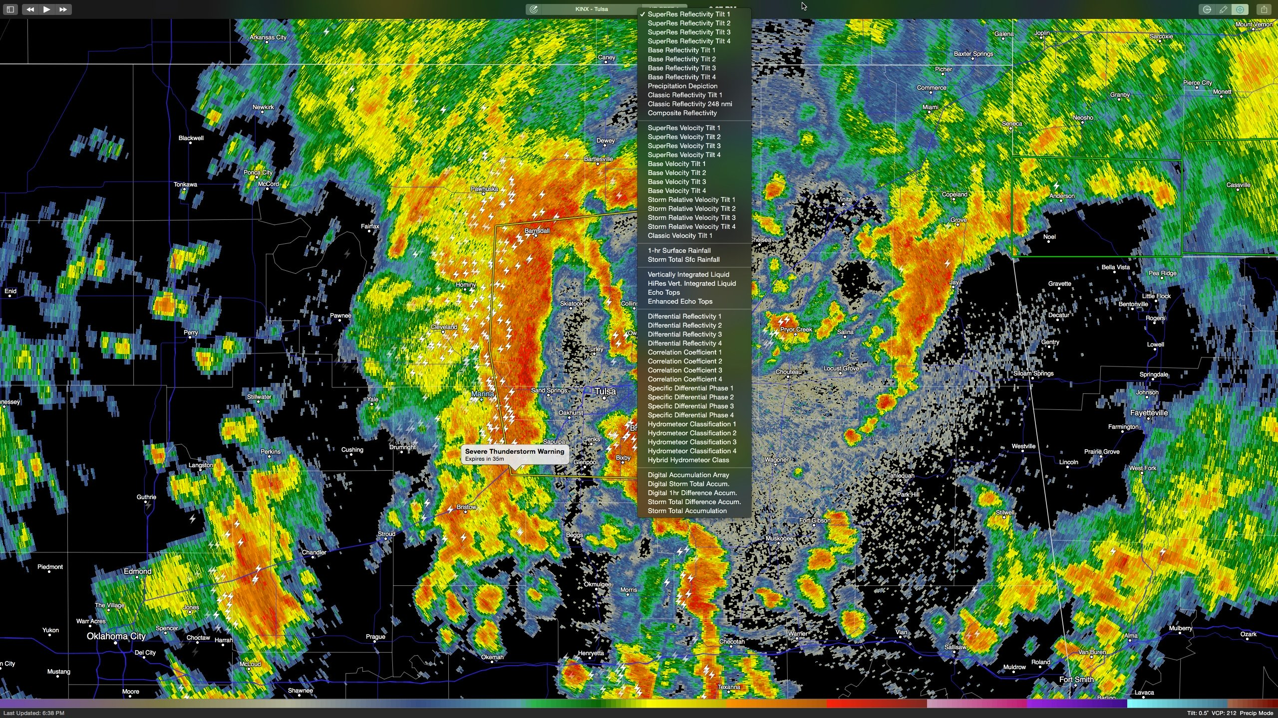 The full list of RadarScope radar product offering.