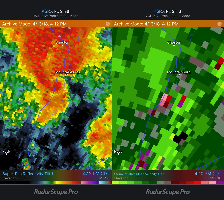 Mountainburg, AR tornado Reflectivity and Storm Relative Velocity