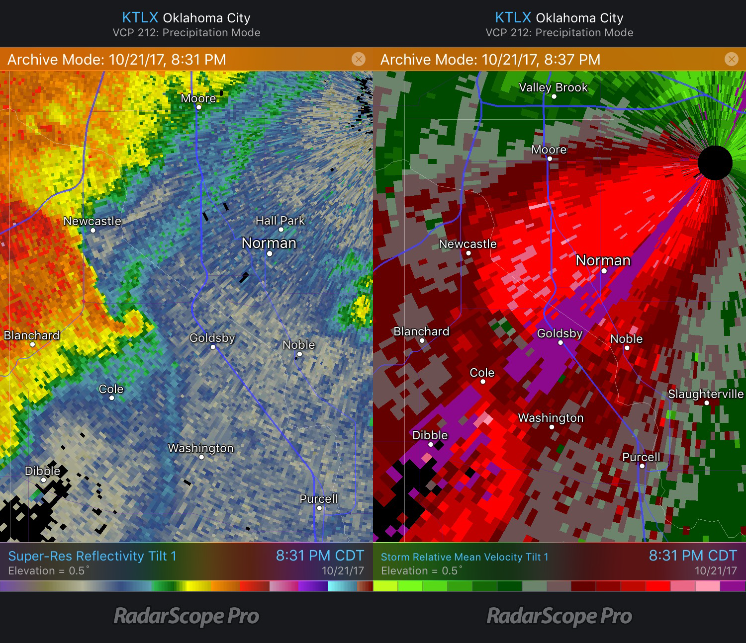 Goldsby Tornado Reflectivity and Velocity images from KTLX