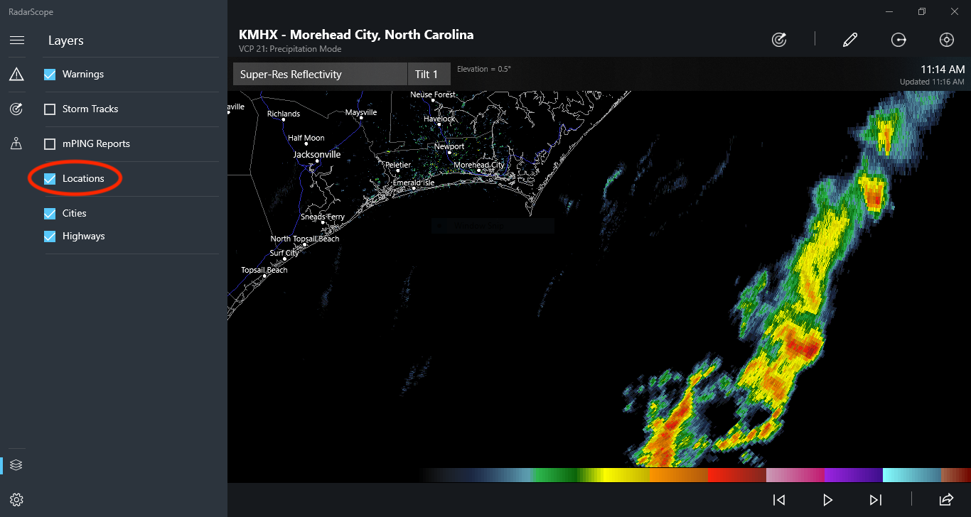 Locations Box on RadarScope for Windows