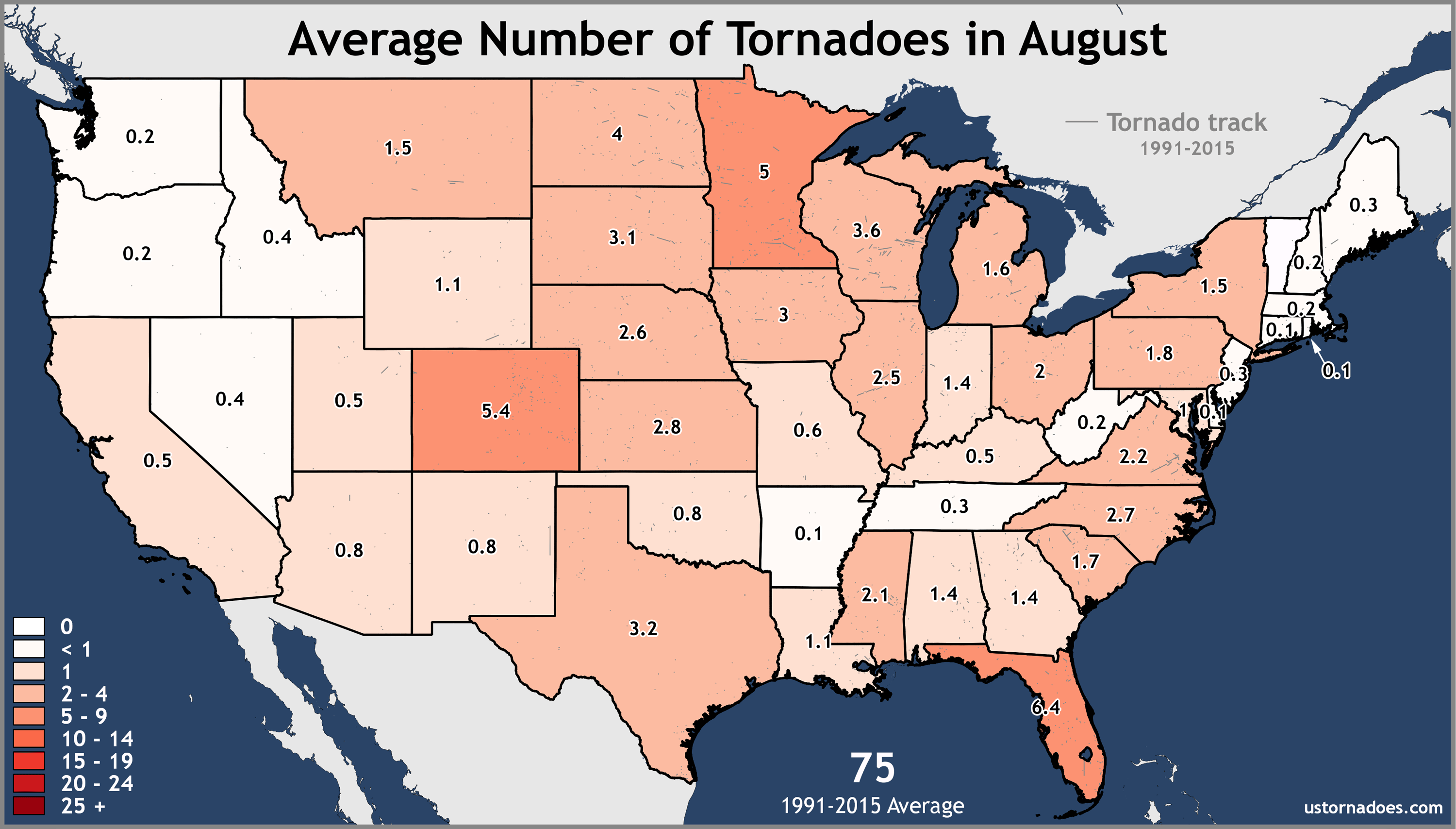 Average Number of Tornadoes in August