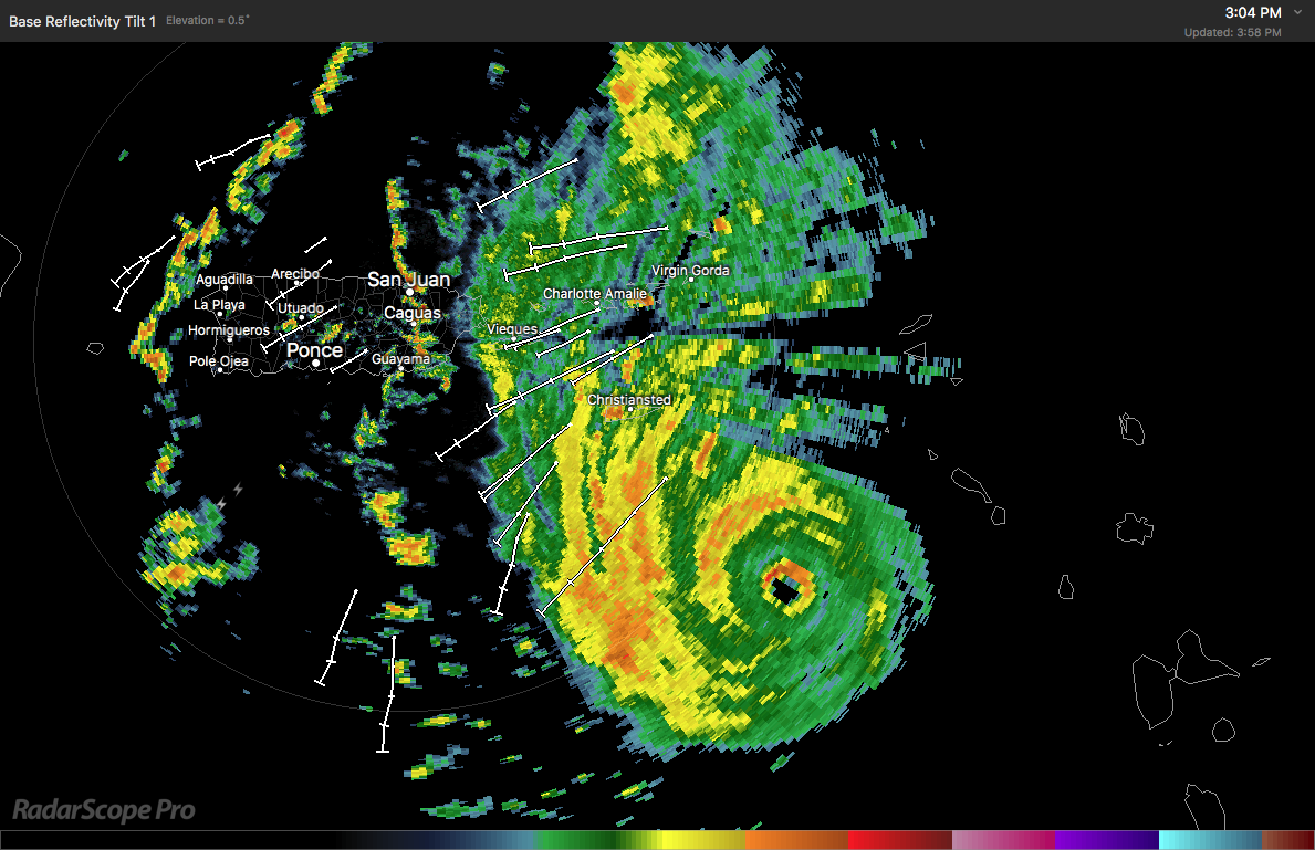 Hurricane Maria Approaching Puerto Rico Before Radar Outage