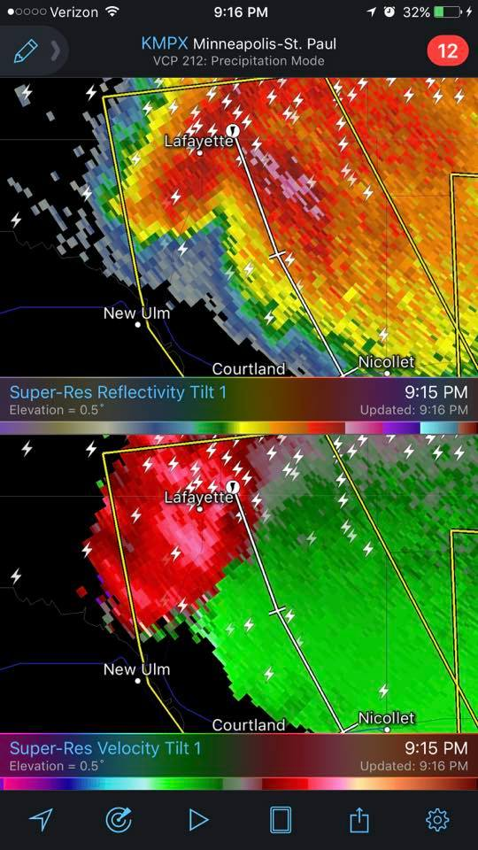 RadarScope Velocity Couplet- No Tornado Warning