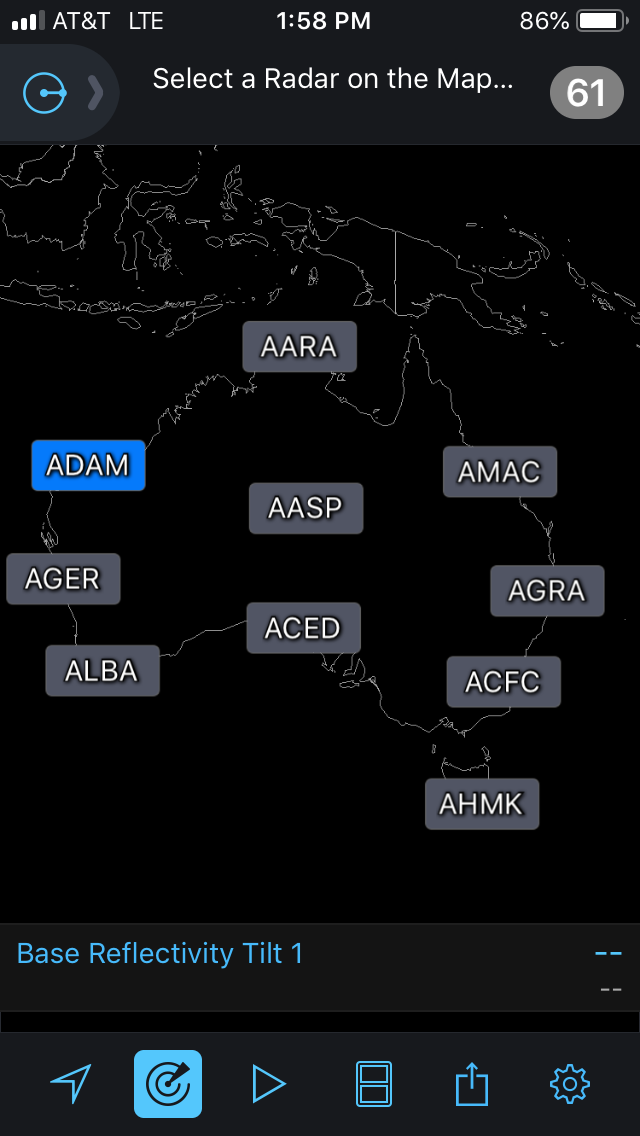 Australian Radar Sites in RadarScope