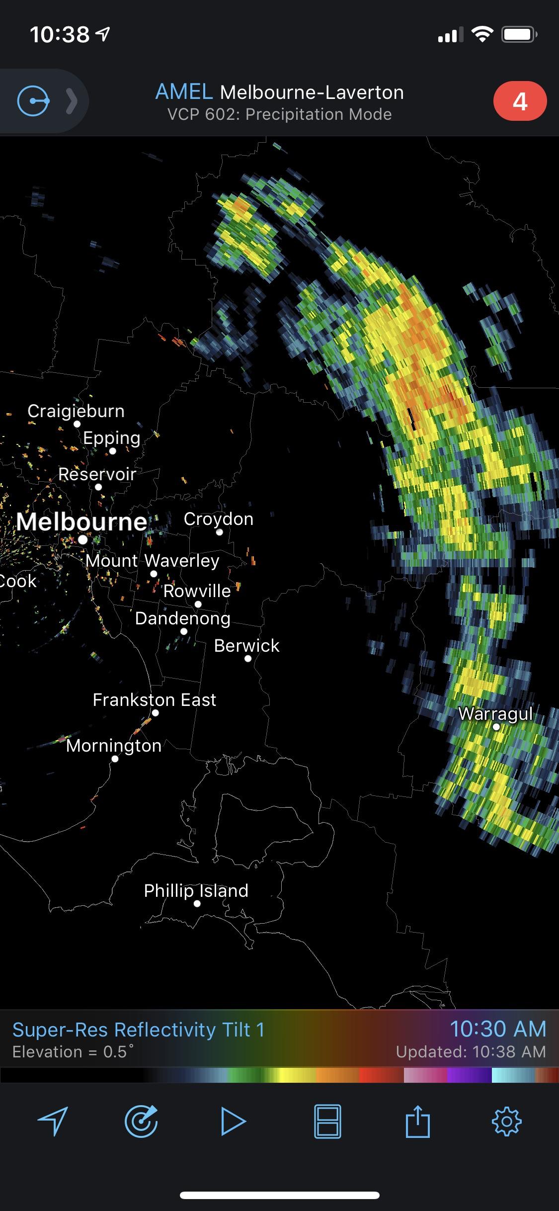 RadarScope Australia - Melbourne-Laverton Radar Precipitation Mode