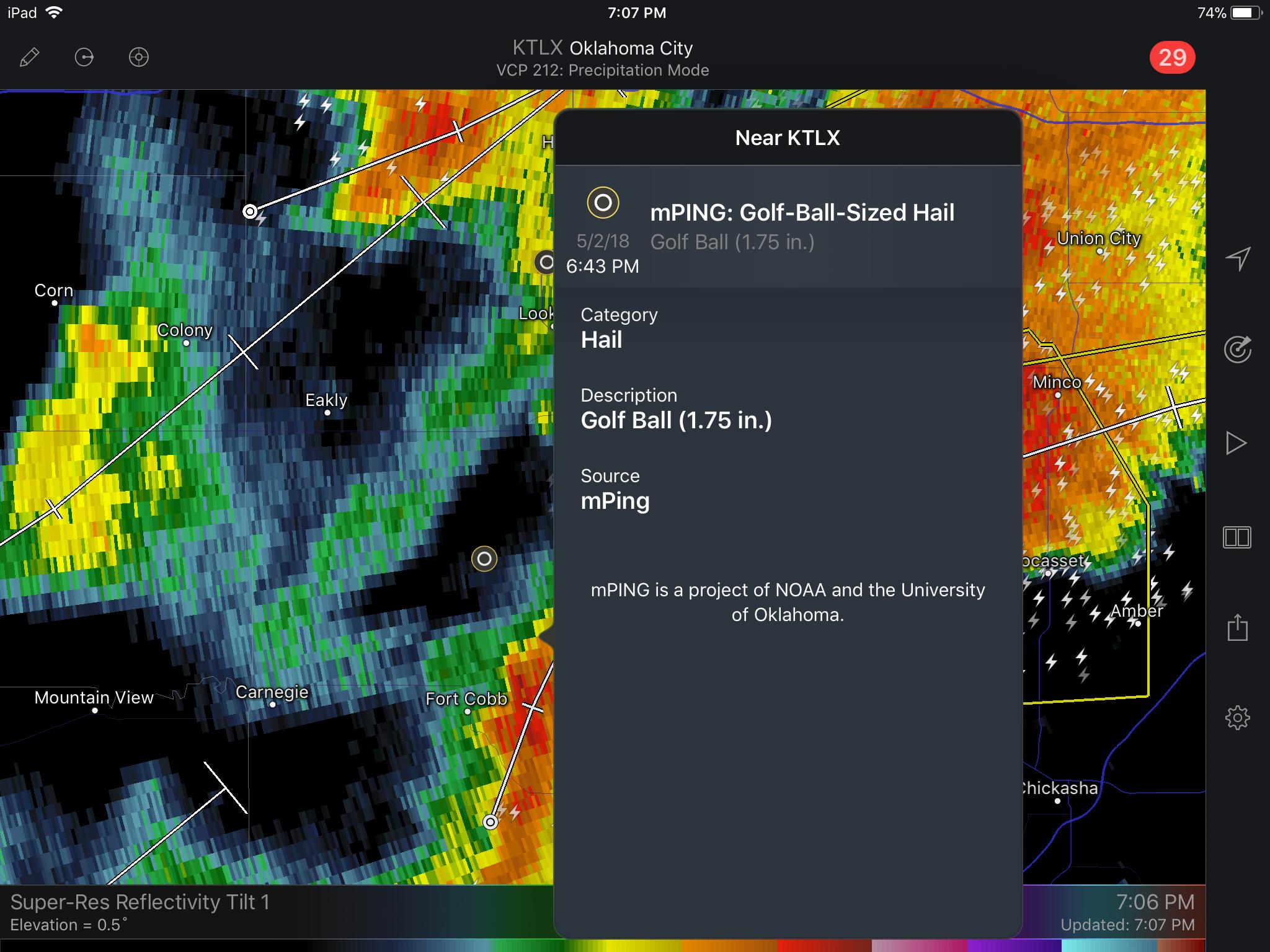 mPING Hail Report on RadarScope