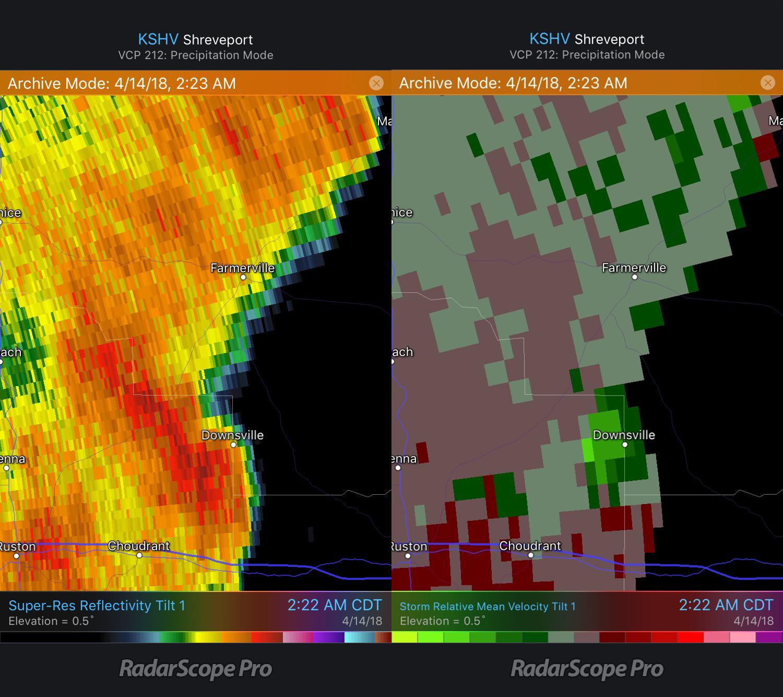 Downsville, LA tornado Reflectivity and Storm Relative Velocity