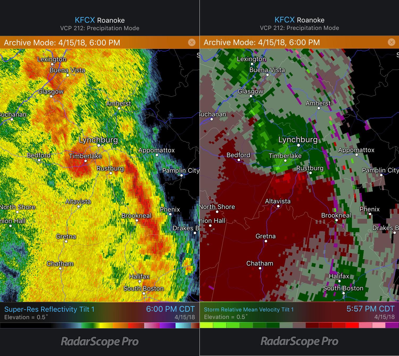 Lynchburg, VA, Reflectivity and Storm Relative Velocity