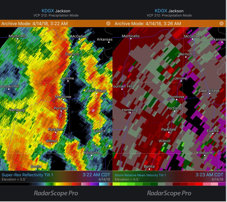Montrose, AR Tornado Reflectivity and Storm Relative Velocity 4/14/18