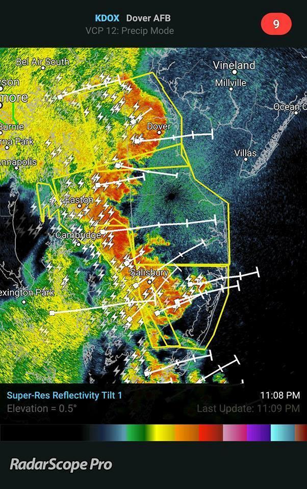 RadarScope: Severe Storms in Delaware