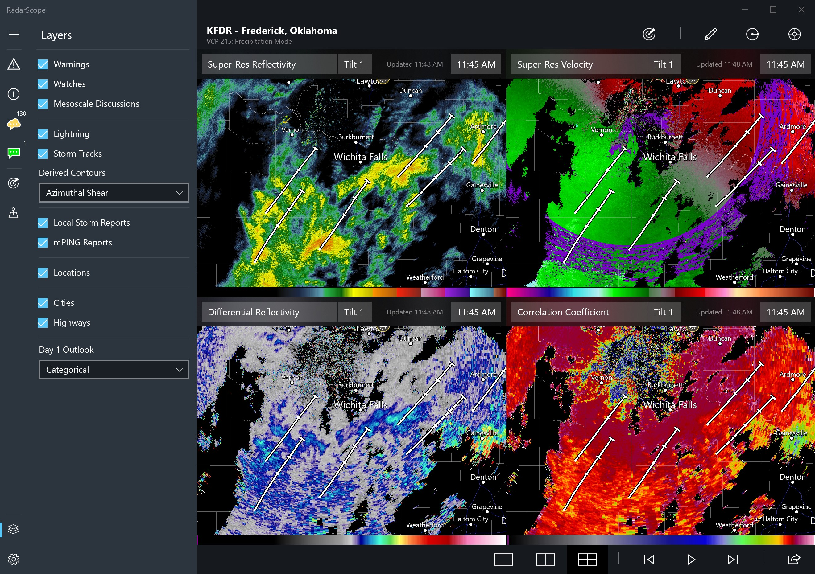 RadarScope Quad Pane for Windows