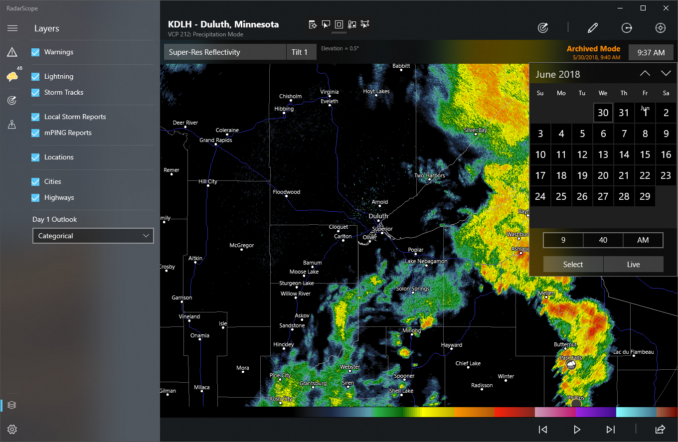 RadarScope for Windows Archive Mode Test