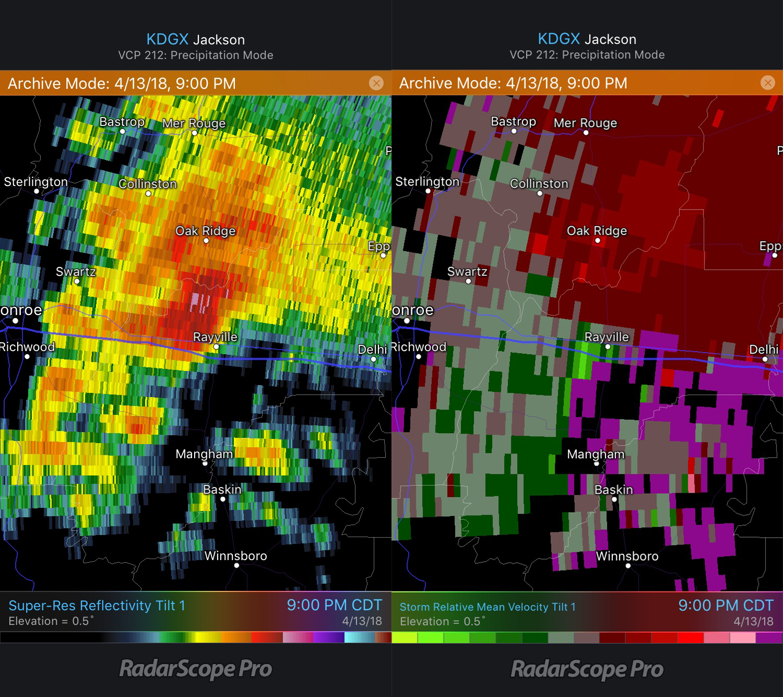 Rayville, LA tornado Reflectivity and Storm Relative Velocity 4/13/18 9pm CDT